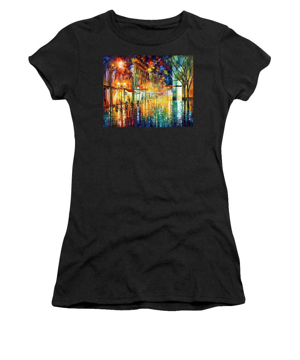 Afremov Women's T-Shirt (Athletic Fit) featuring the painting Scent Of Rain by Leonid Afremov