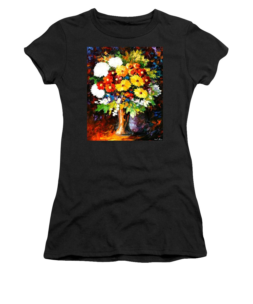 Afremov Women's T-Shirt (Athletic Fit) featuring the painting Scent Of The Night by Leonid Afremov