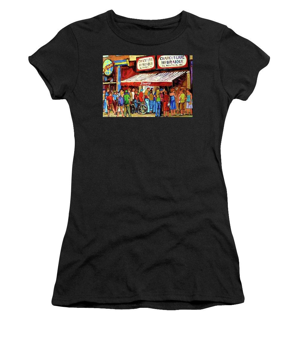 Schwartz Deli Women's T-Shirt (Athletic Fit) featuring the painting Schwartzs Deli Lineup by Carole Spandau