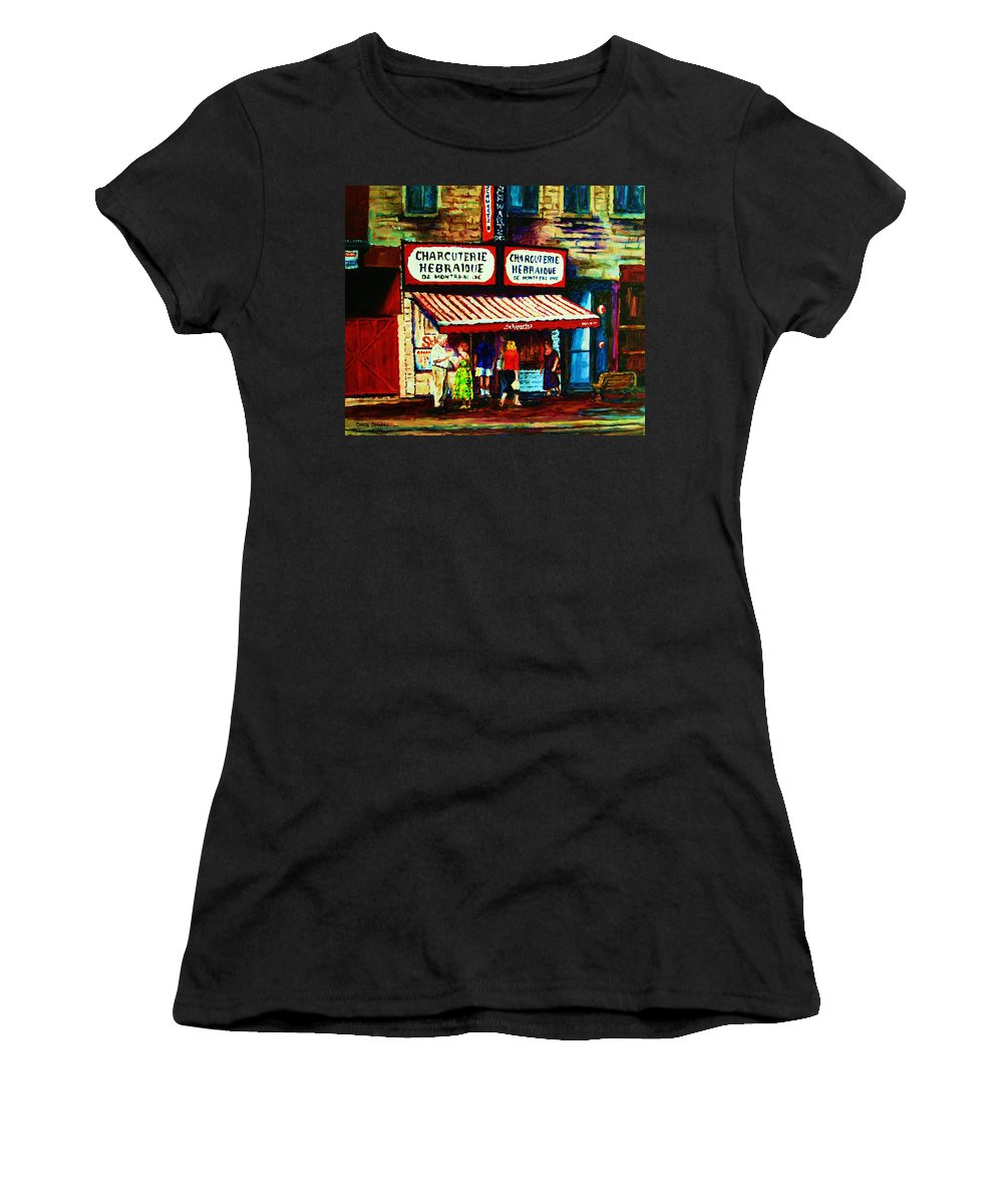 Schwartz Deli Women's T-Shirt (Athletic Fit) featuring the painting Schwartzs Famous Smoked Meat by Carole Spandau