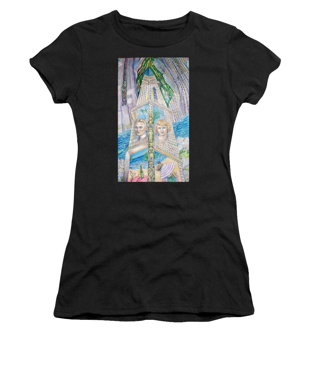 New York Fantasy Women's T-Shirt (Athletic Fit) featuring the painting Scott And Zelda In Their New York Dream Tower by Patricia Buckley