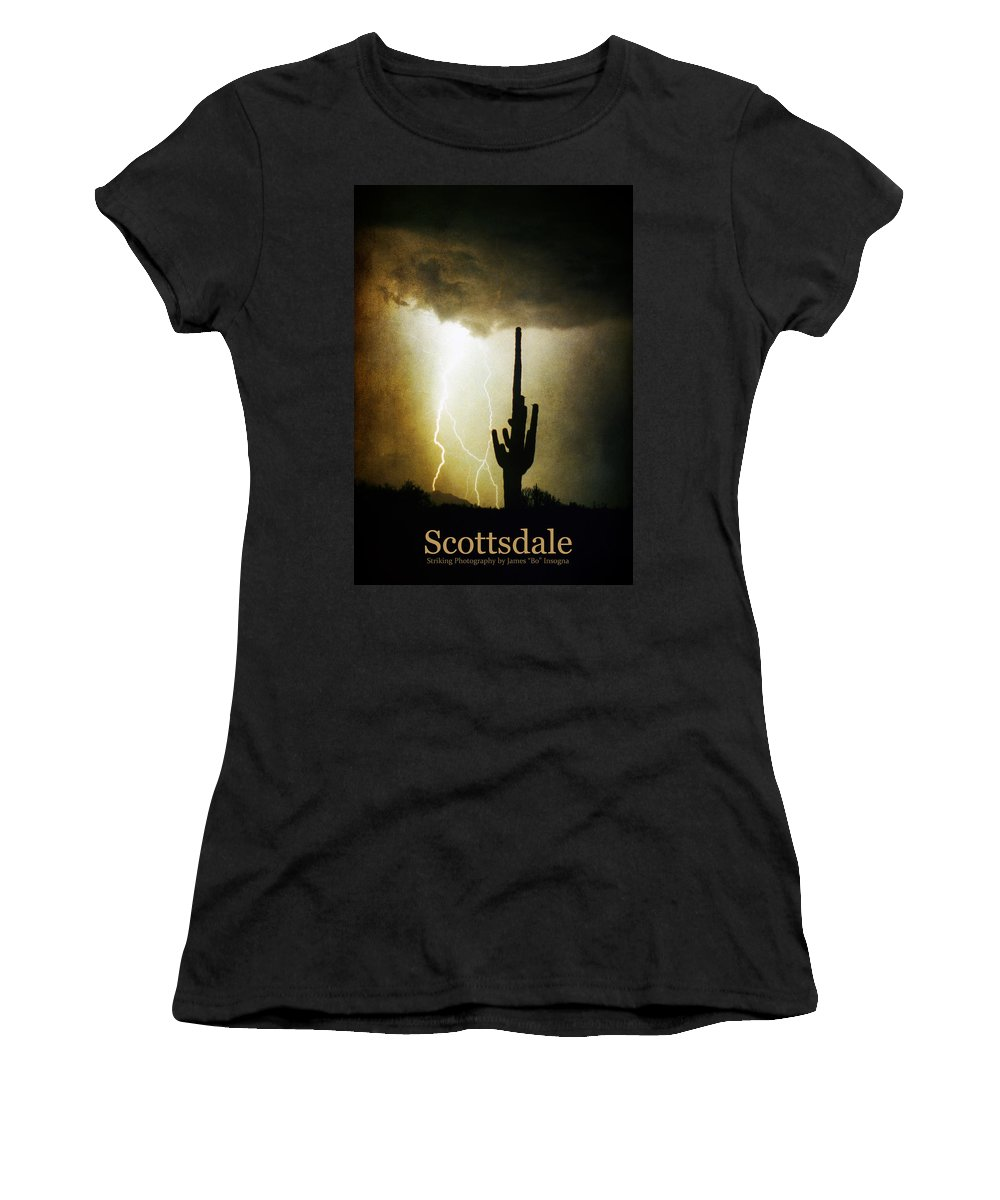 Scottsdale Women's T-Shirt featuring the photograph Scottsdale Arizona Fine Art Lightning Photography Poster by James BO Insogna