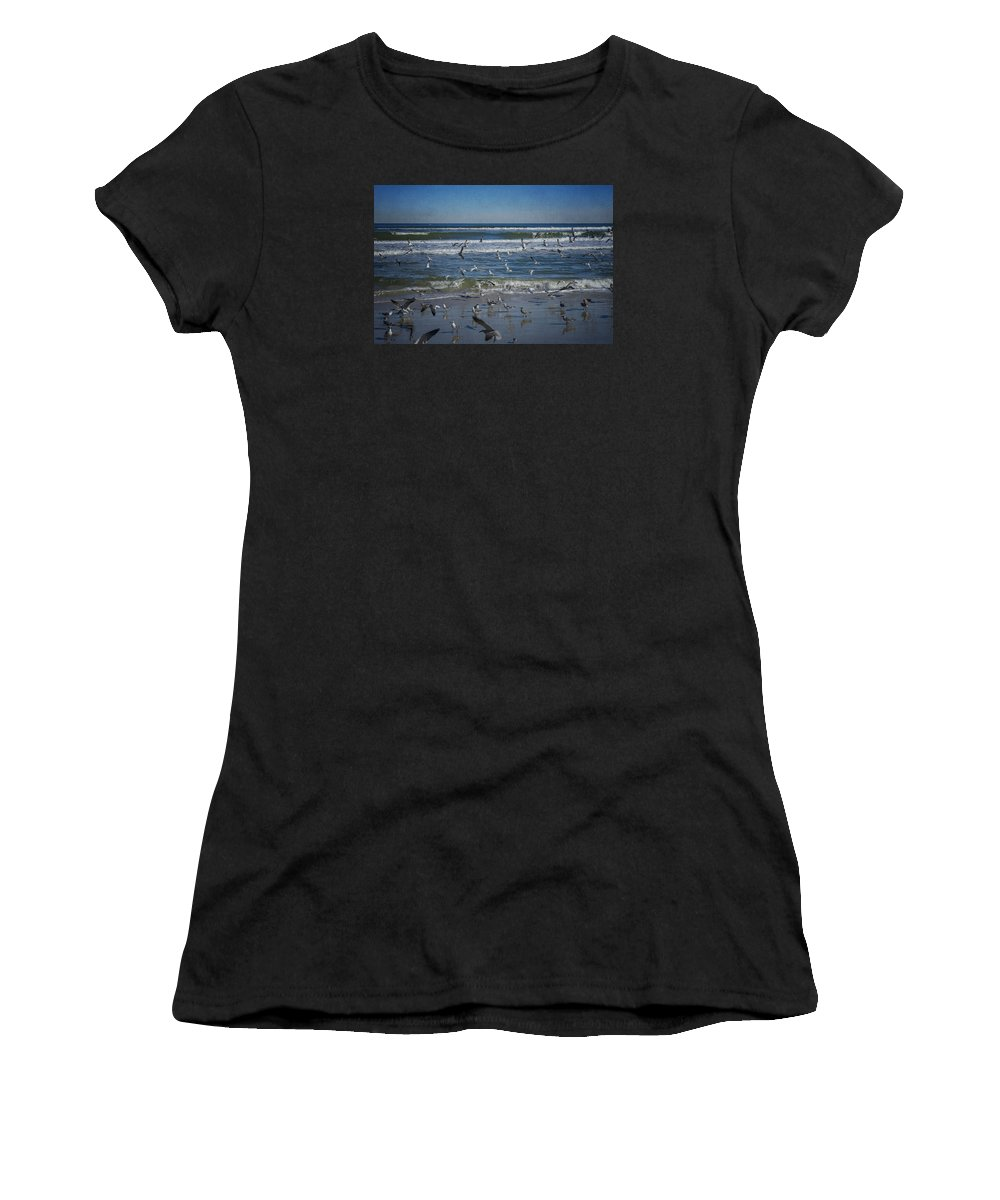 Sea Bird Women's T-Shirt (Athletic Fit) featuring the photograph Sea Birds Feeding On Florida Coast Dsc00473_16 by Greg Kluempers