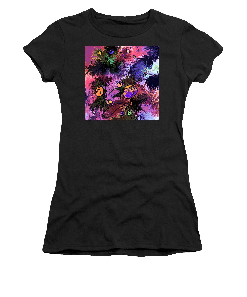 Abstract Women's T-Shirt (Athletic Fit) featuring the digital art Sea Creatures by Rachel Christine Nowicki