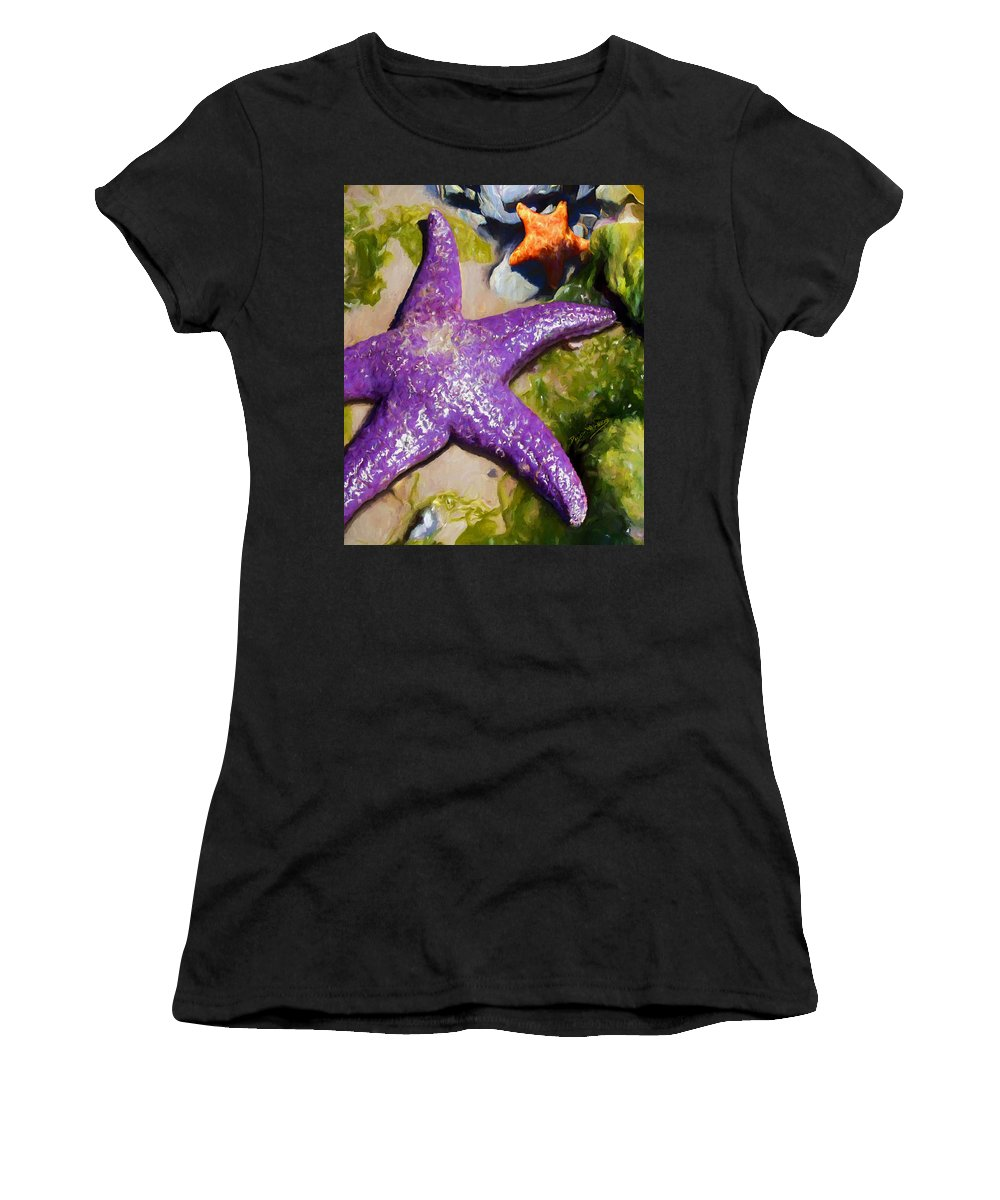 Sea Stars Women's T-Shirt (Athletic Fit) featuring the painting Sea Stars by David Wagner