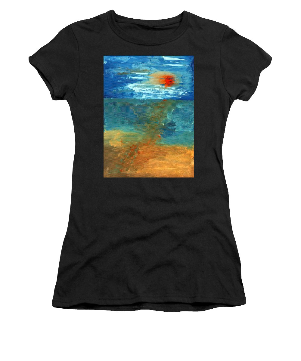 Colour Women's T-Shirt (Athletic Fit) featuring the painting Sea Was by Wojtek Kowalski