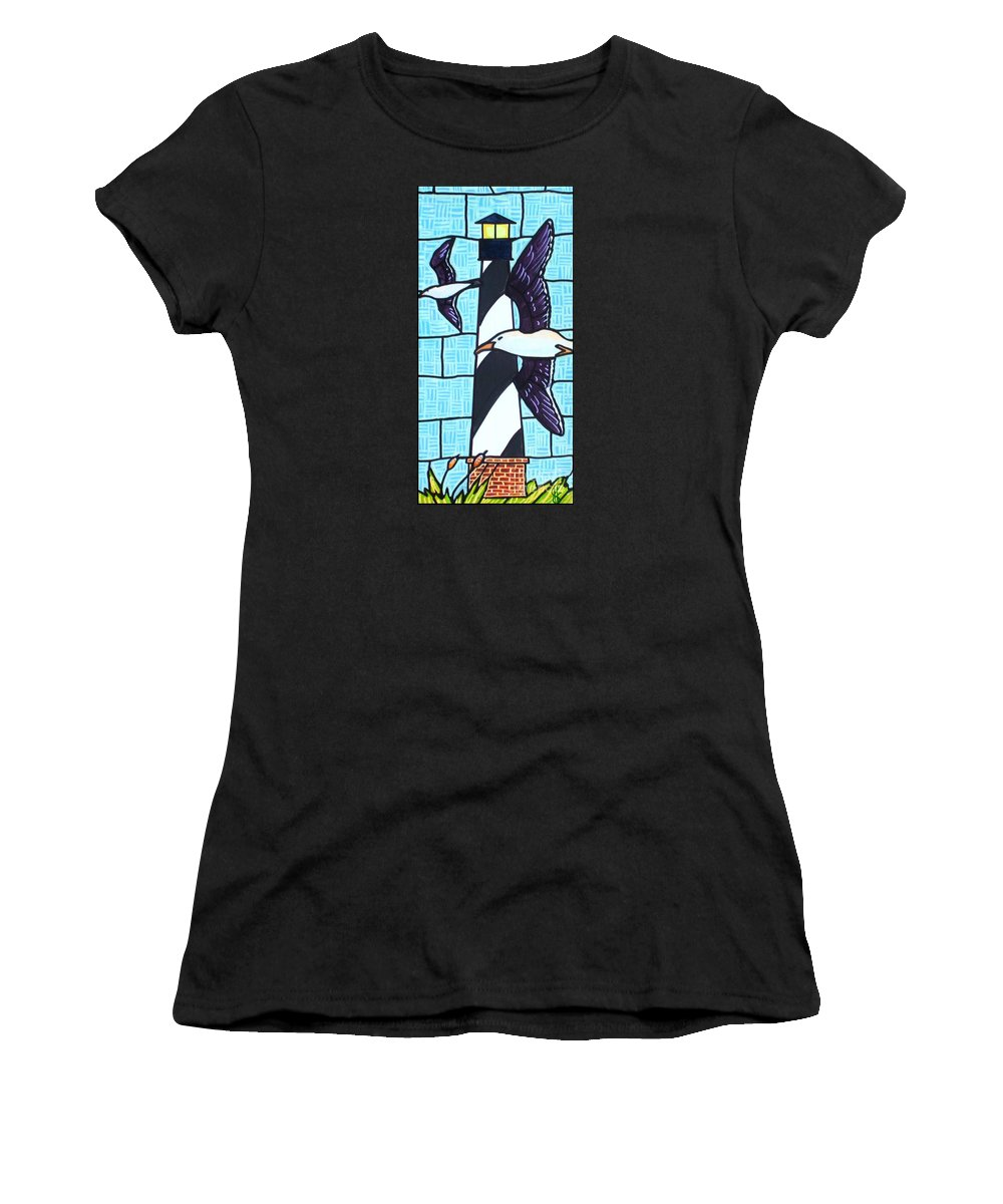 Seagulls Women's T-Shirt (Athletic Fit) featuring the painting Seagulls And Lighthouse by Jim Harris