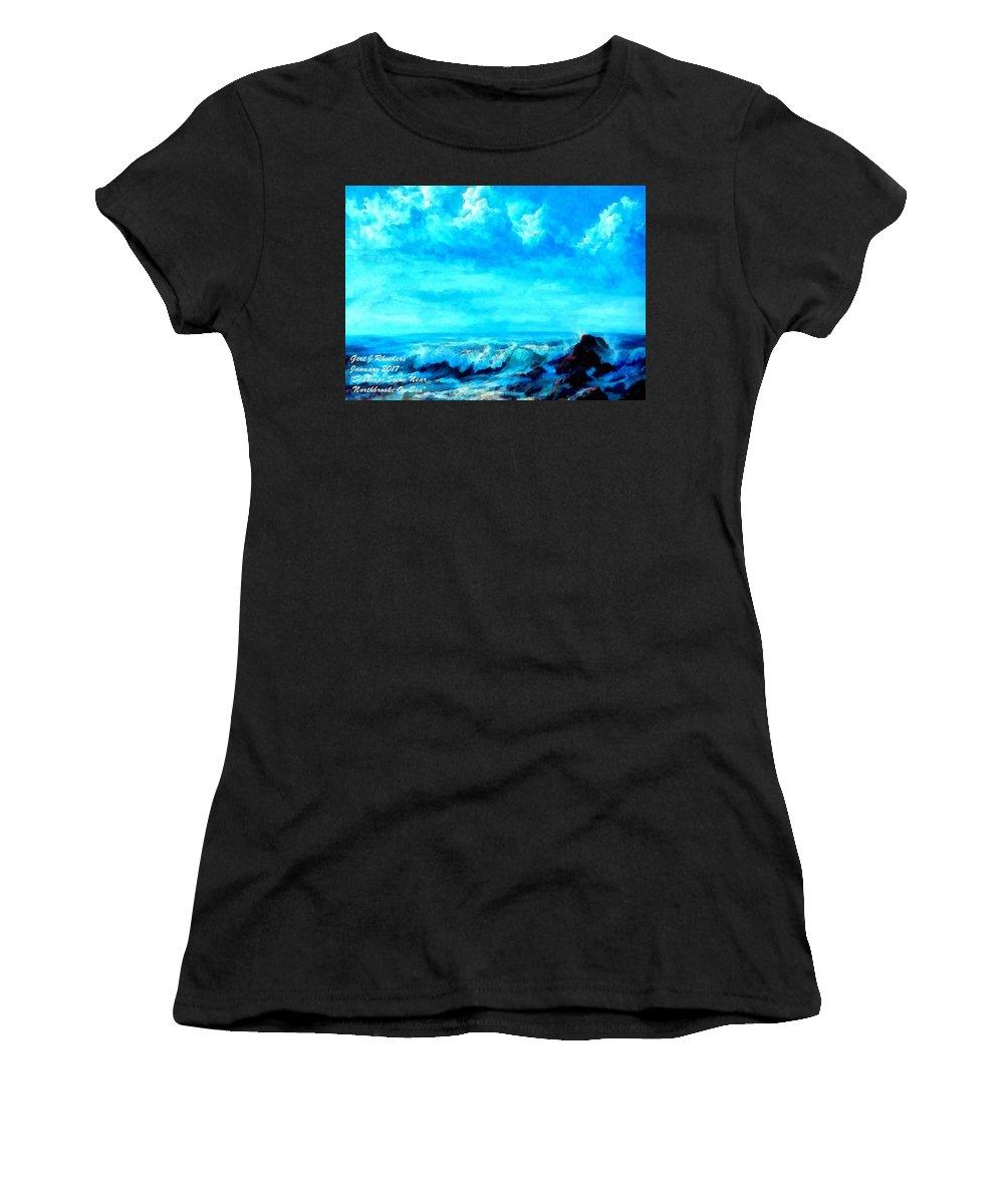 Sea Women's T-Shirt featuring the painting Seascape Scene Near Northbrooke-on-sea L A by Gert J Rheeders