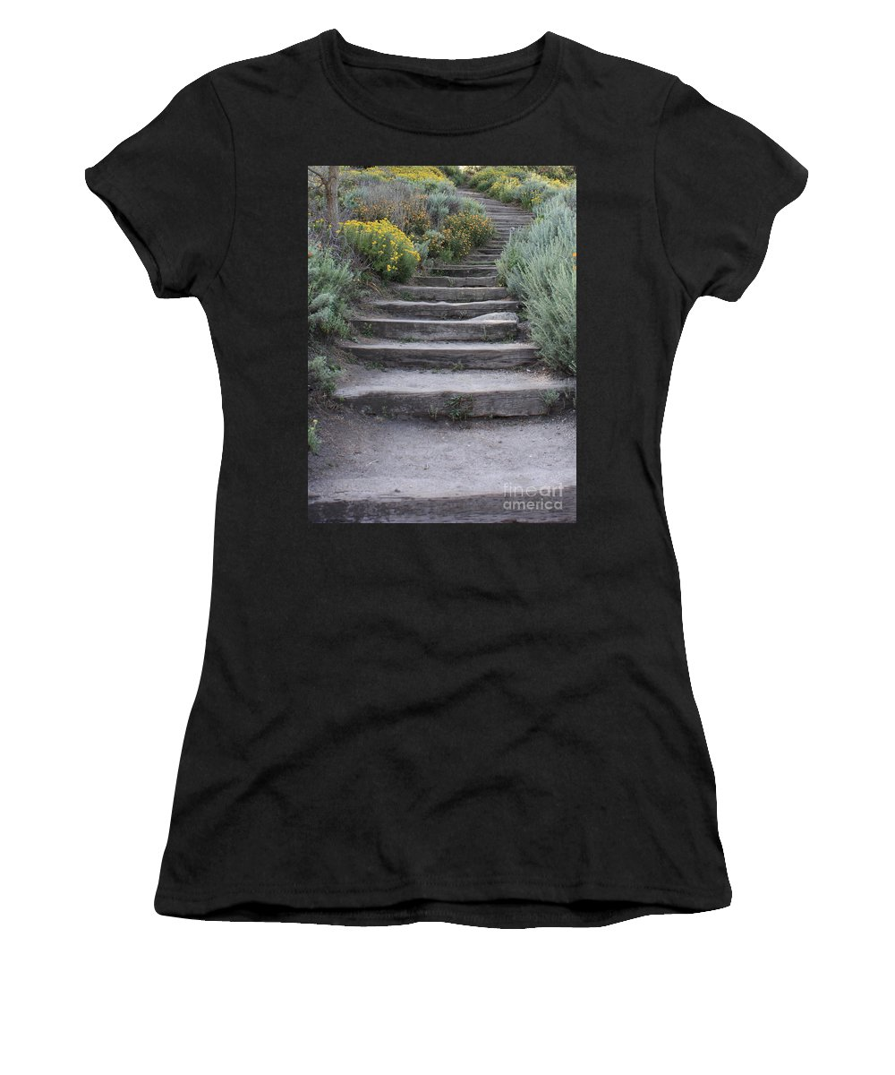 Seaside Steps Women's T-Shirt (Athletic Fit) featuring the photograph Seaside Steps by Carol Groenen