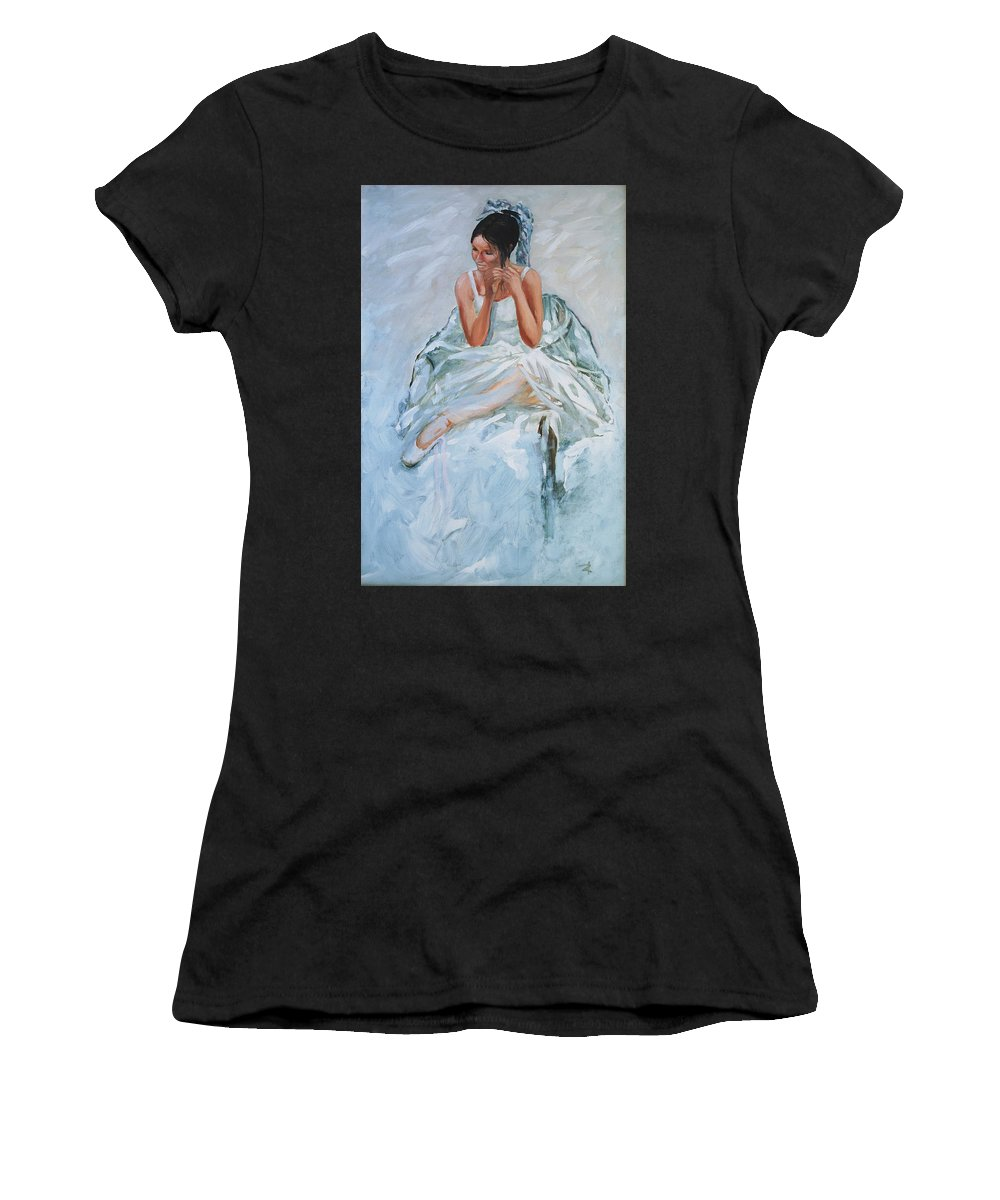 Figurative Women's T-Shirt (Athletic Fit) featuring the painting Seated Dancer by Rick Nederlof