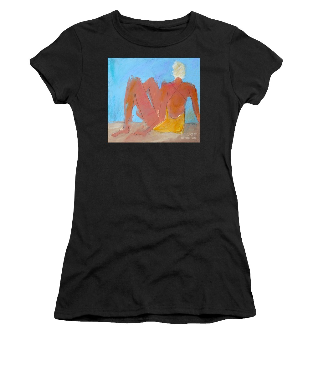 Figures Women's T-Shirt featuring the painting Seated Woman by Lisa Baack