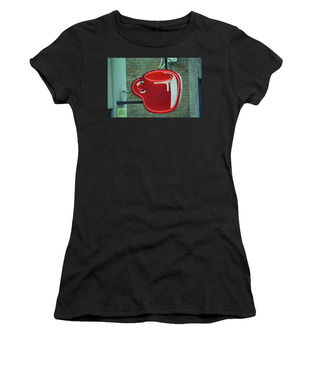 America Women's T-Shirt (Athletic Fit) featuring the photograph Seattle Coffee Shop by Frank Romeo