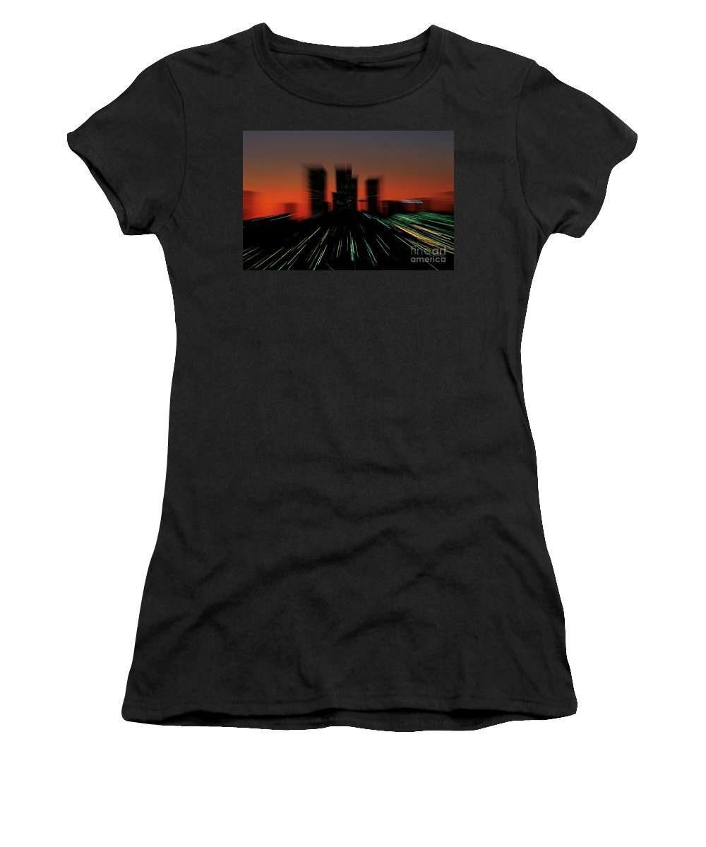 Special Effects Women's T-Shirt featuring the photograph Seattle Skyline Motion by Jim Corwin
