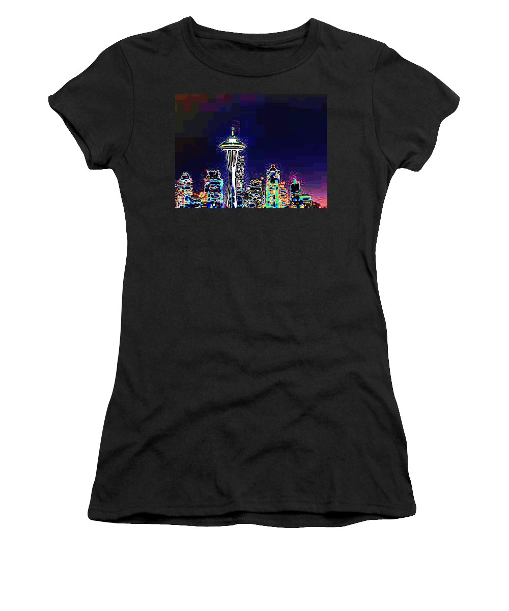 Seattle Women's T-Shirt (Athletic Fit) featuring the photograph Seattle Skyline by Tim Allen