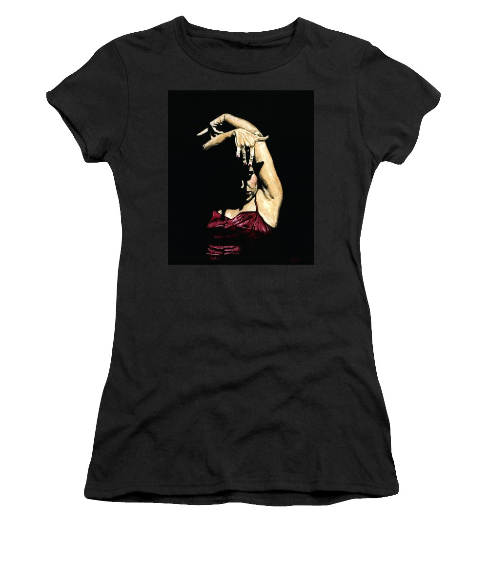 Flamenco Women's T-Shirt (Athletic Fit) featuring the painting Seclusion Del Flamenco by Richard Young