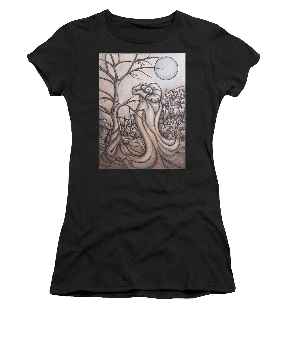 Dream. Moon Women's T-Shirt (Athletic Fit) featuring the painting Secrets And Dreams by Judy Henninger