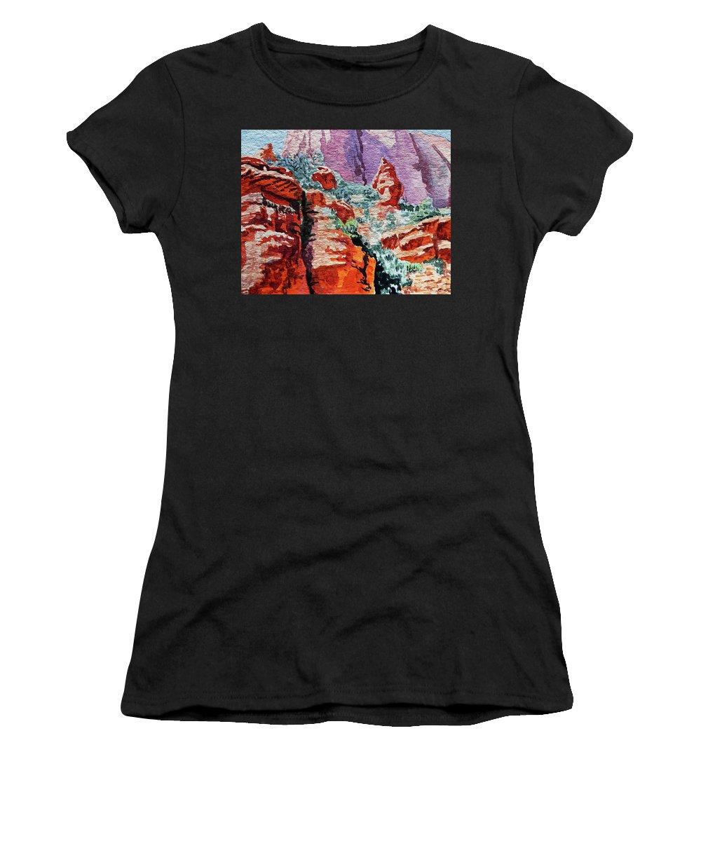 Landscape Women's T-Shirt (Athletic Fit) featuring the painting Sedona Arizona Rocky Canyon by Irina Sztukowski