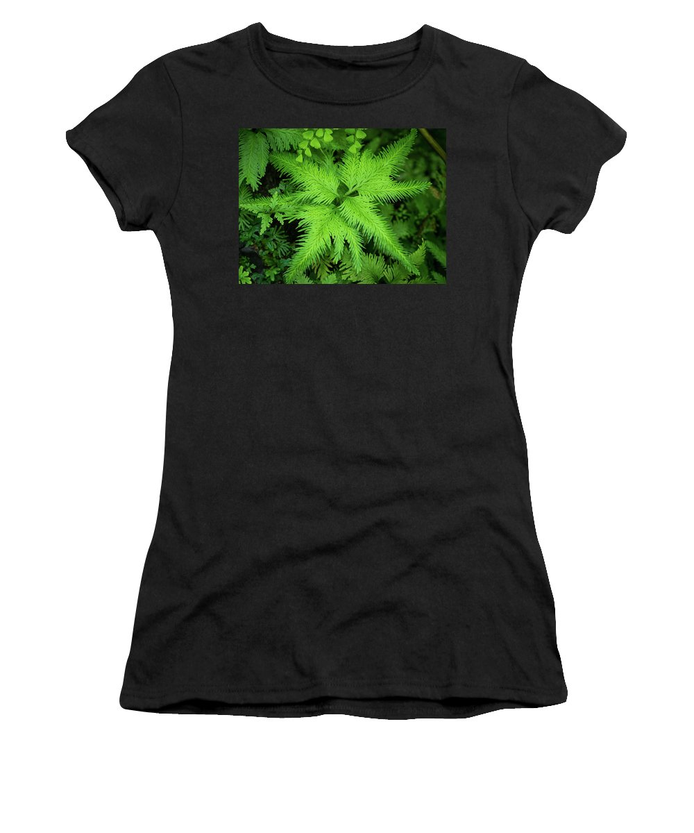 Fairchild Tropical Botanic Garden Women's T-Shirt (Athletic Fit) featuring the photograph Selaginella Sp. by Francisco Herrera