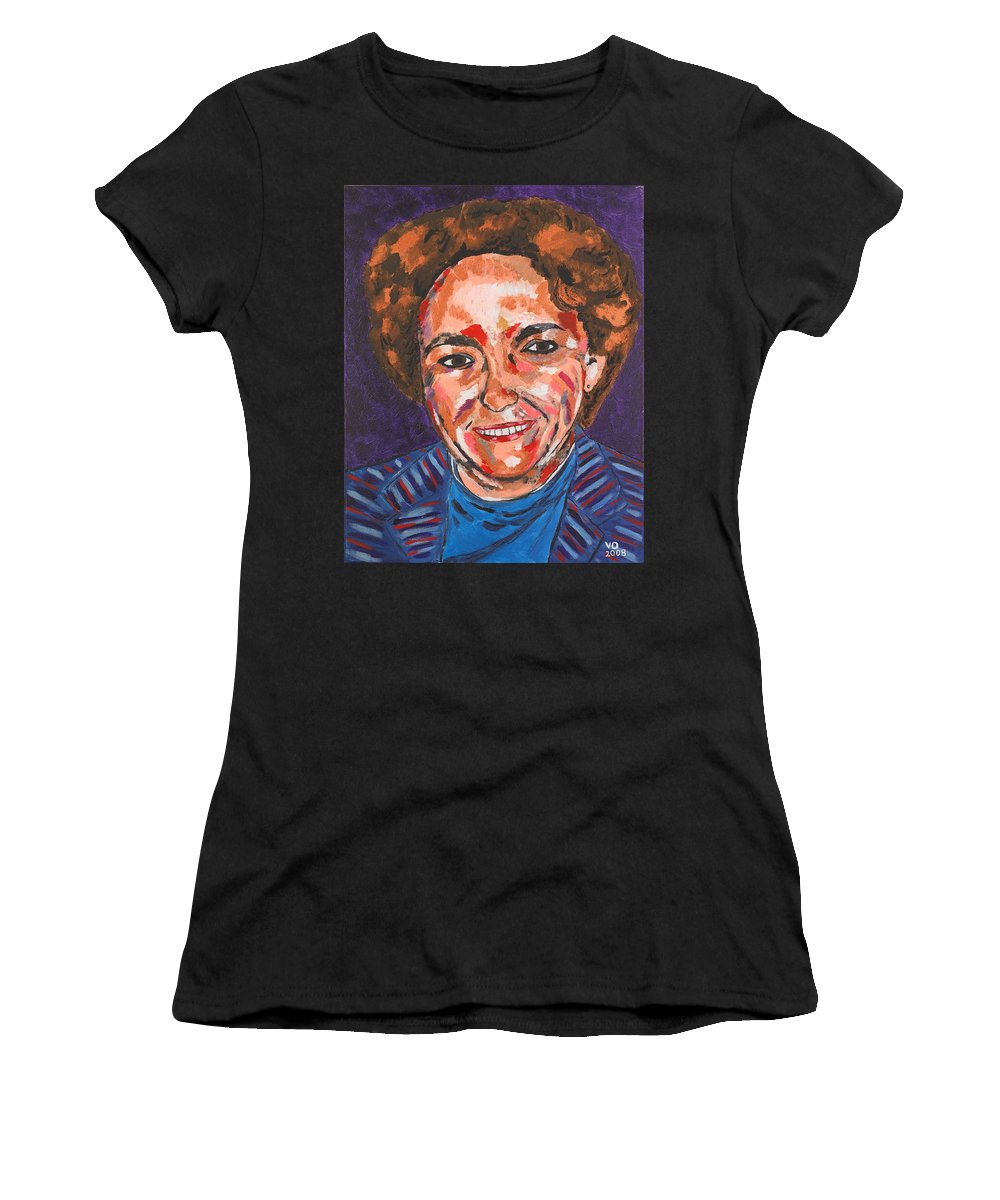 Portrait Women's T-Shirt (Athletic Fit) featuring the painting Self-portrait With Blue Jacket by Valerie Ornstein