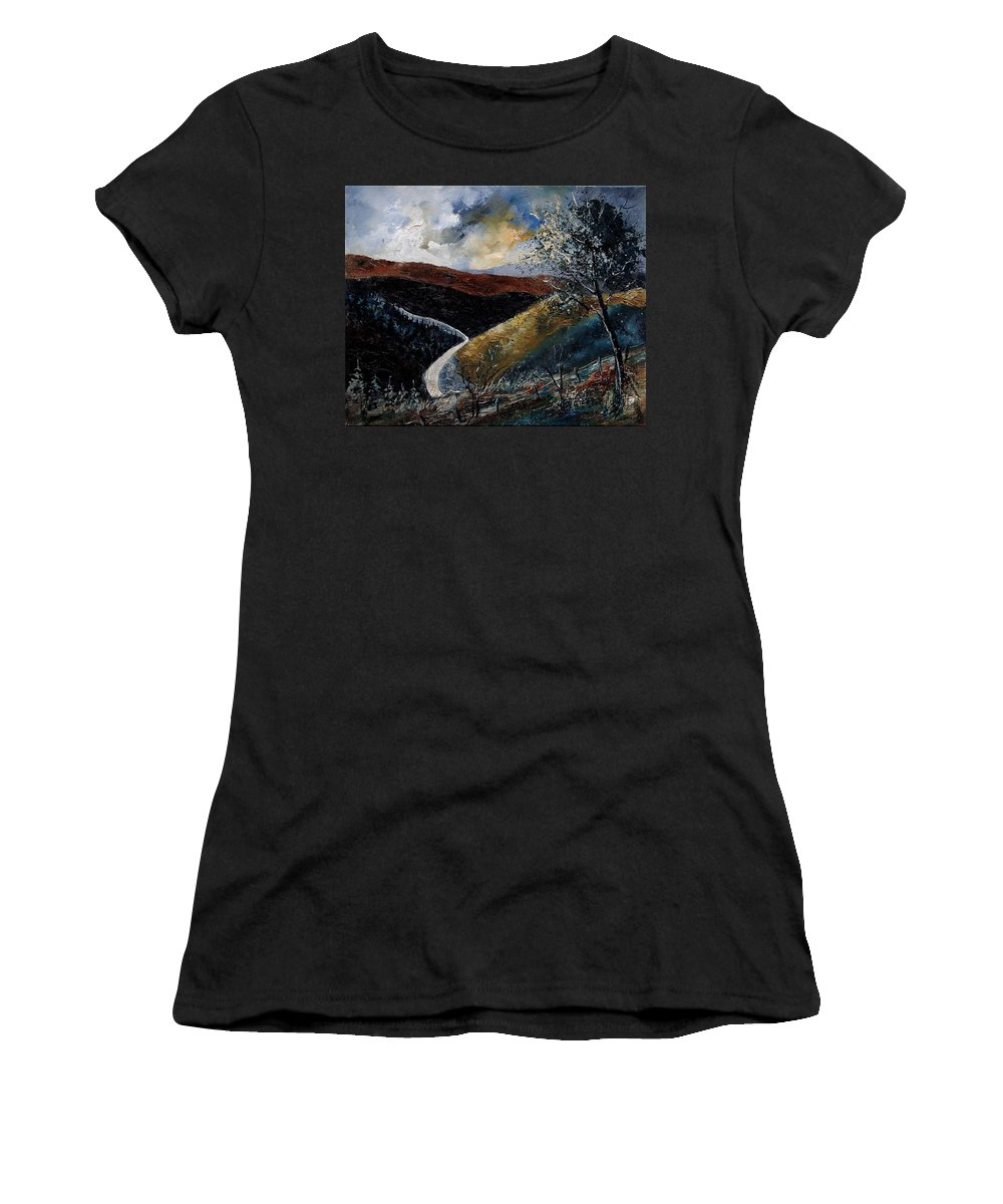 River Women's T-Shirt featuring the painting Semois Valley by Pol Ledent