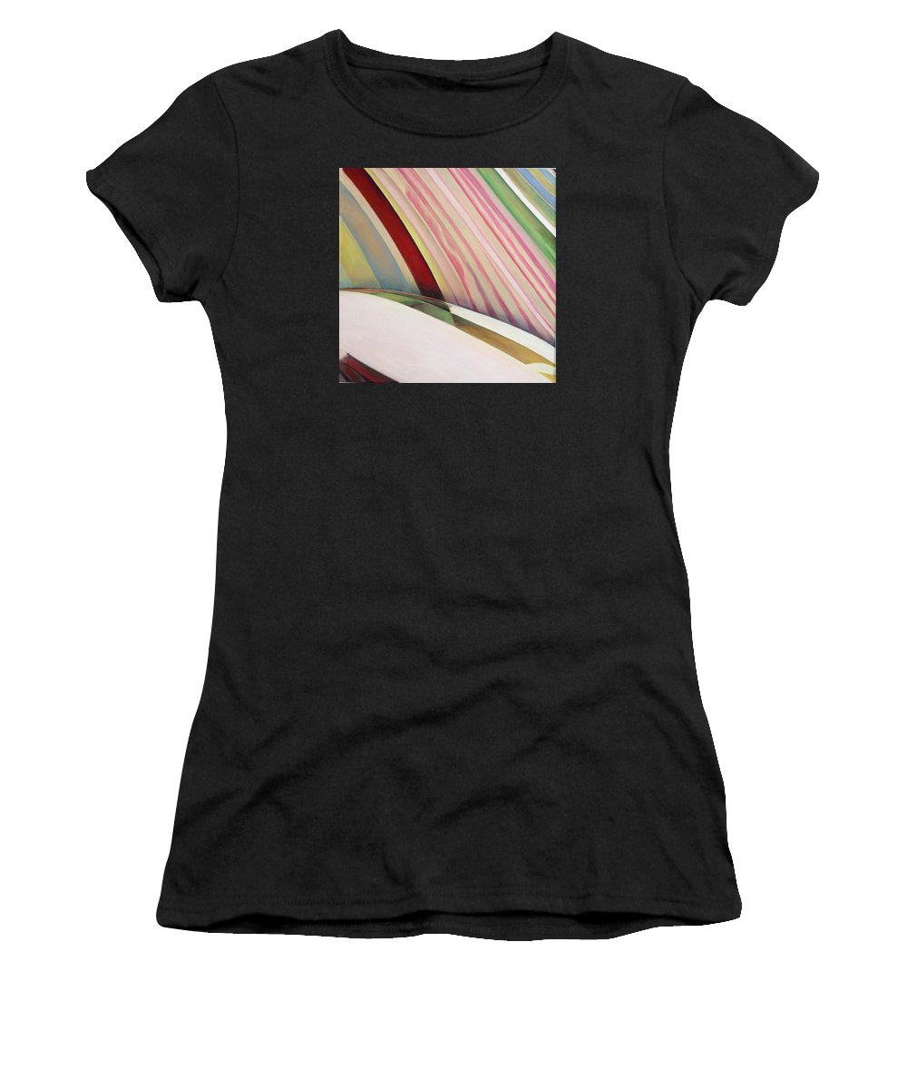 Abstract Women's T-Shirt (Athletic Fit) featuring the painting Sens 1 by Muriel Dolemieux