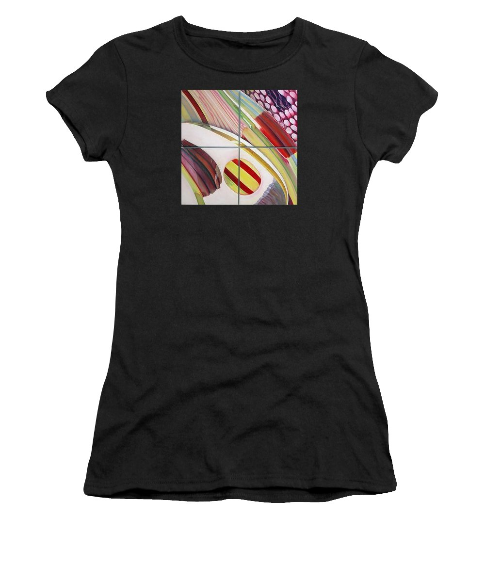 Abstract Women's T-Shirt (Athletic Fit) featuring the painting Sens by Muriel Dolemieux