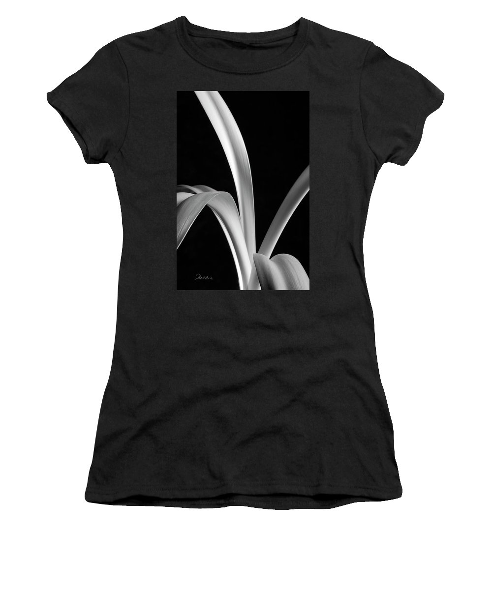 Photography Women's T-Shirt (Athletic Fit) featuring the photograph Sensuous Amaryllis Leaves by Frederic A Reinecke