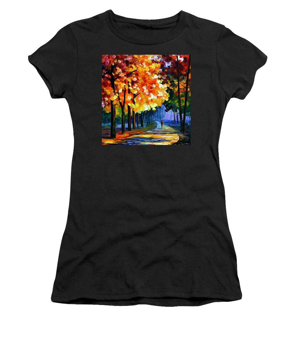 Afremov Women's T-Shirt (Athletic Fit) featuring the painting September by Leonid Afremov