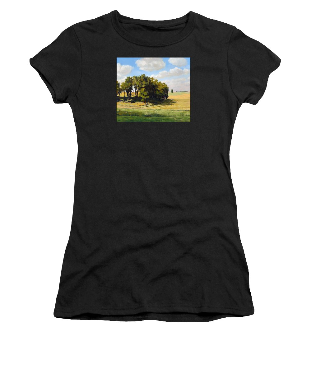 Landscape Women's T-Shirt (Athletic Fit) featuring the painting September Summer by Bruce Morrison