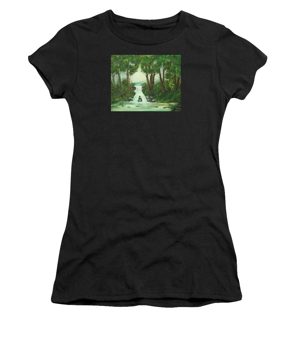 Waterfall Women's T-Shirt (Athletic Fit) featuring the painting Serenity by Brandy House