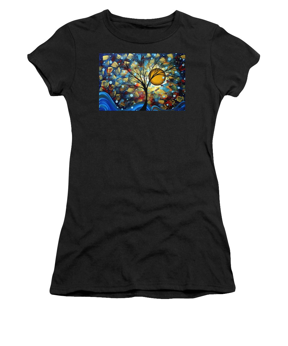 Abstract Women's T-Shirt featuring the painting Serenity Falls By Madart by Megan Duncanson