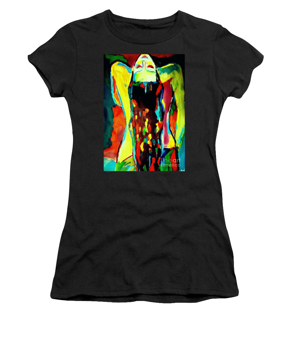 Nude Figures Women's T-Shirt (Athletic Fit) featuring the painting Serenity by Helena Wierzbicki