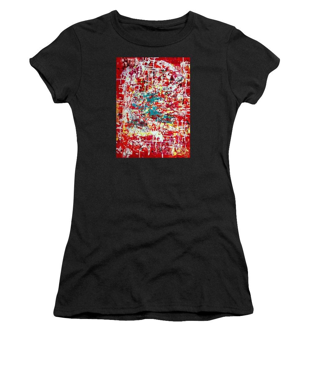 Net Women's T-Shirt featuring the painting Series Net Joy Of Life by Pilbri