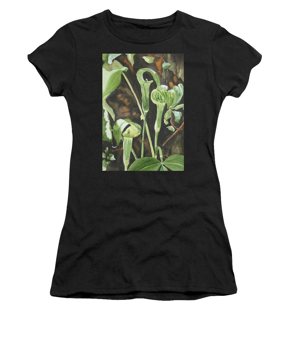 Woods Women's T-Shirt (Athletic Fit) featuring the painting Sermon In The Woods by Jean Blackmer