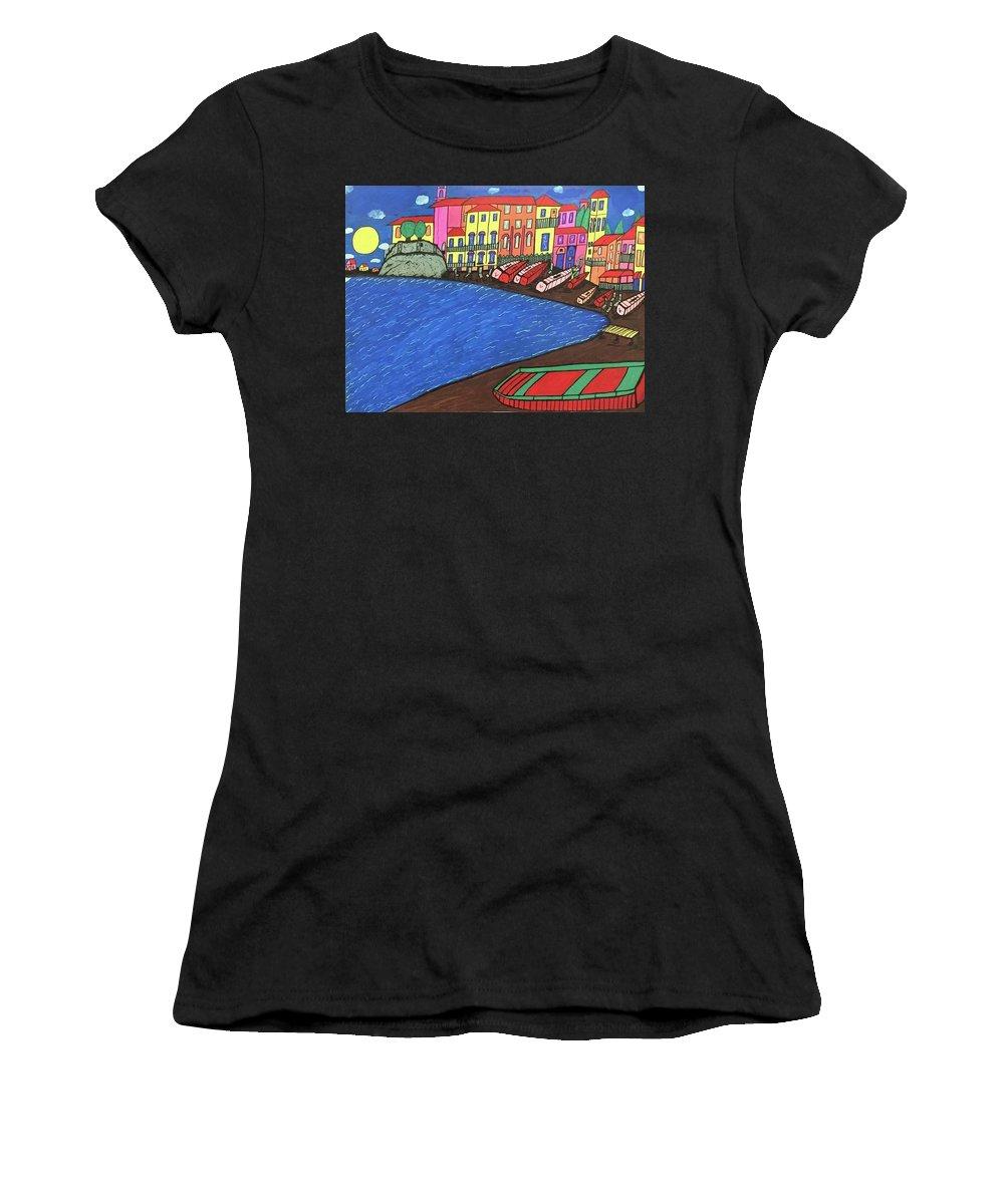 Sestri Levante Italy Women's T-Shirt (Athletic Fit) featuring the painting Sestri Levante Italy by Jonathon Hansen
