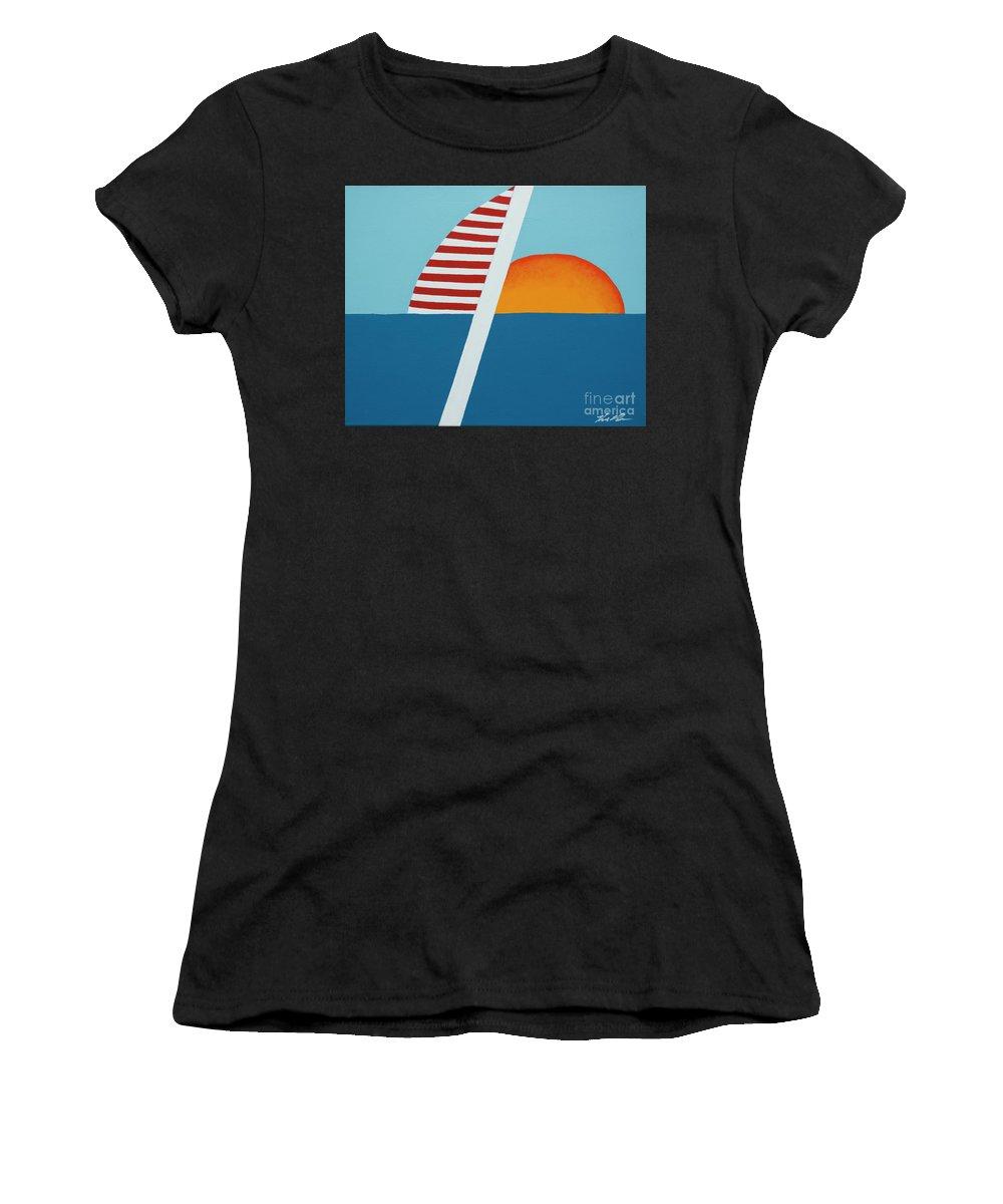 Nautical Landscape Women's T-Shirt (Athletic Fit) featuring the painting Set Sail by Keith Klabon