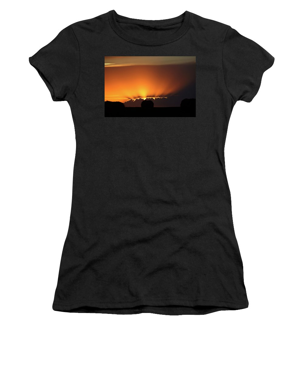 Sun Women's T-Shirt featuring the digital art Setting Sun Peaking Out From Storm Clouds In Saskatchewan by Mark Duffy