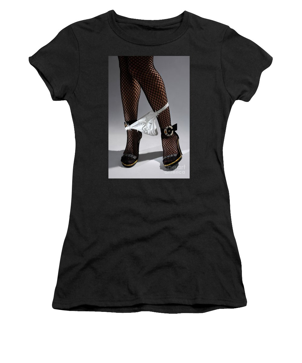 Underwear Women's T-Shirt featuring the photograph Sexy Legs In Stockings Taking Off Her Panties by Oleksiy Maksymenko