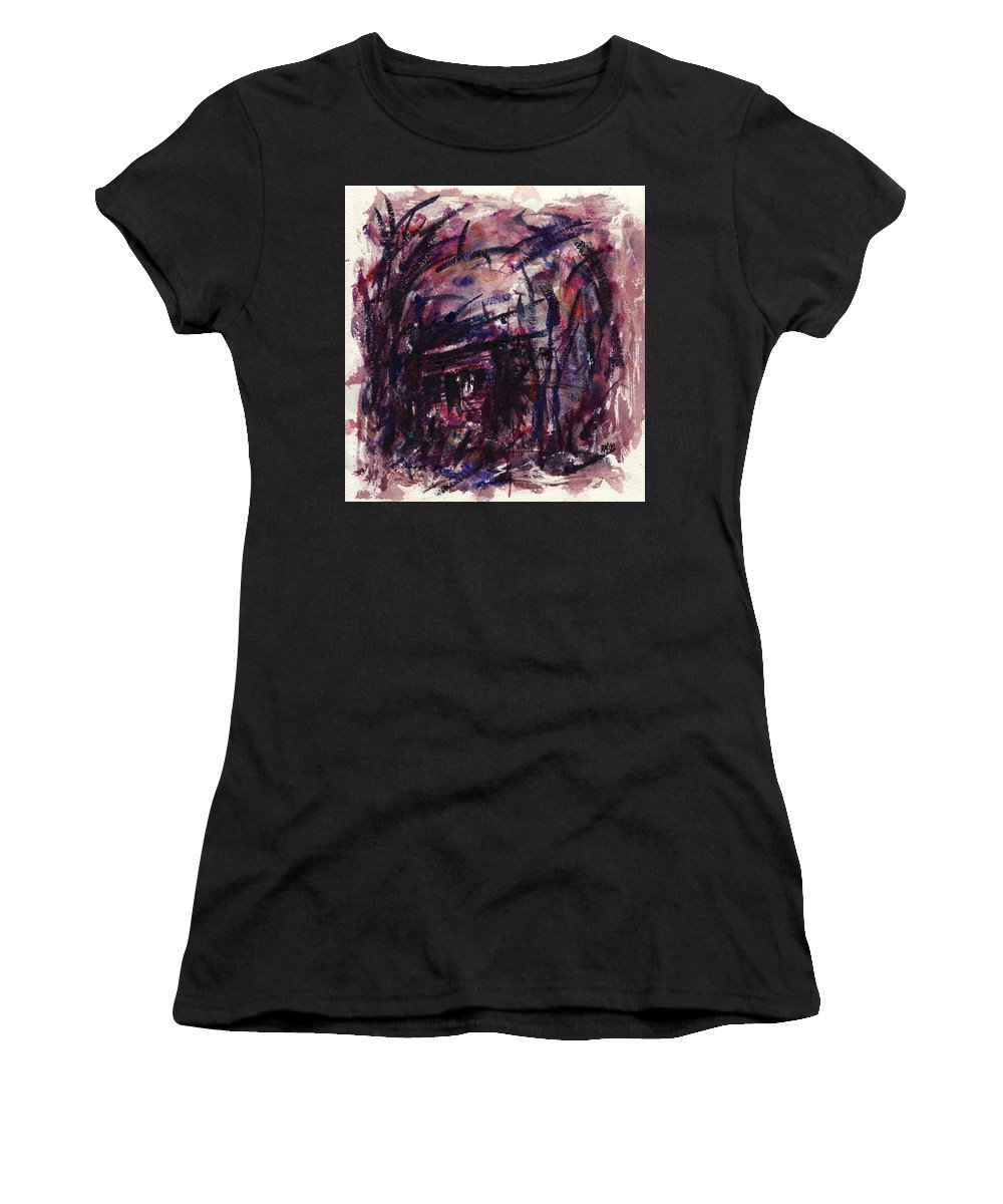 Shack Women's T-Shirt (Athletic Fit) featuring the painting Shack Third Movement by Rachel Christine Nowicki