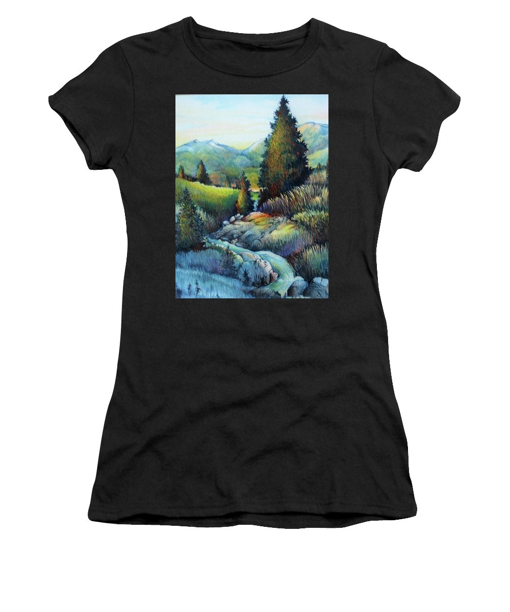Trees Rocks Landscape Mountains Blue Green Sunshine Outdoors Meadow Quiet Peaceful Women's T-Shirt (Athletic Fit) featuring the drawing Shady Creek by Catherine Robertson