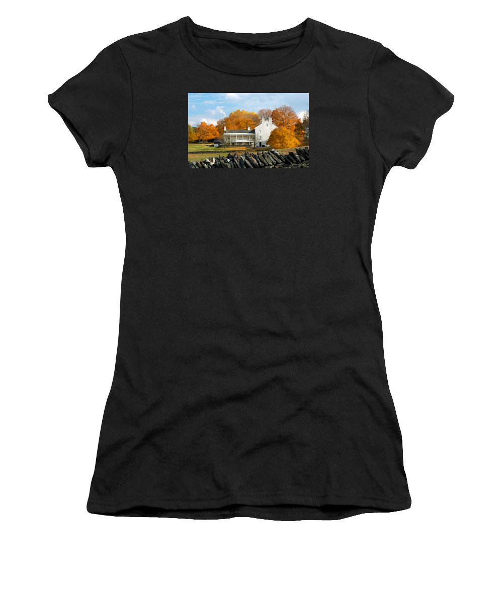 Shaker Women's T-Shirt (Athletic Fit) featuring the photograph Shaker House And Stone Fence by Sam Davis Johnson