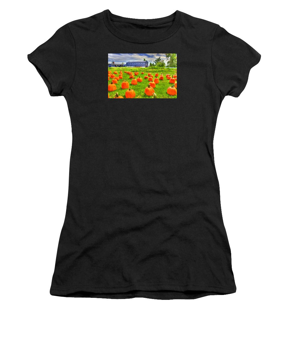 Shaker Women's T-Shirt (Athletic Fit) featuring the photograph Shaker Pumpkin Harvest by Sam Davis Johnson