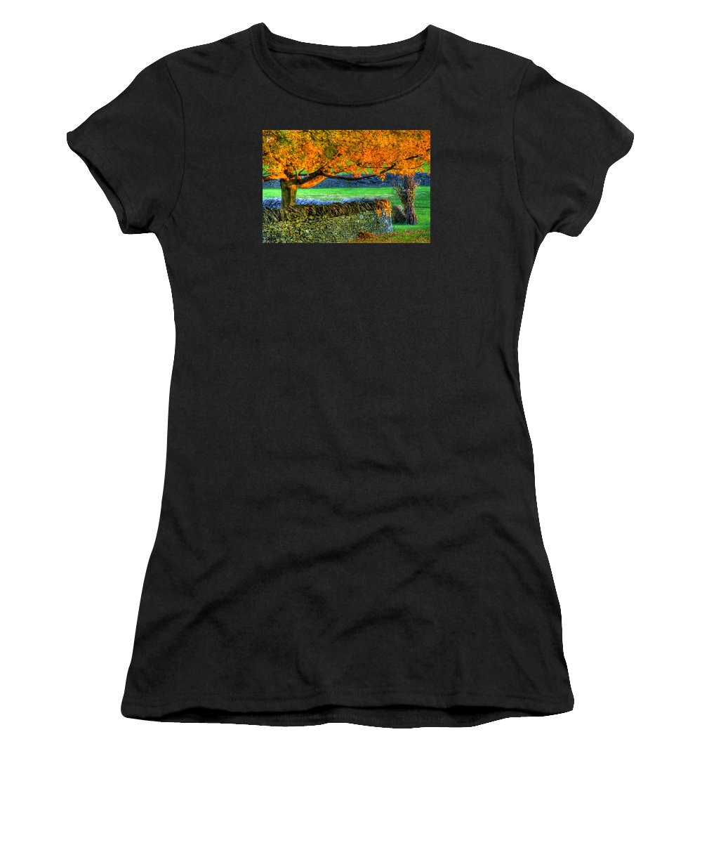 Shaker Women's T-Shirt (Athletic Fit) featuring the photograph Shaker Stone Fence 1 by Sam Davis Johnson