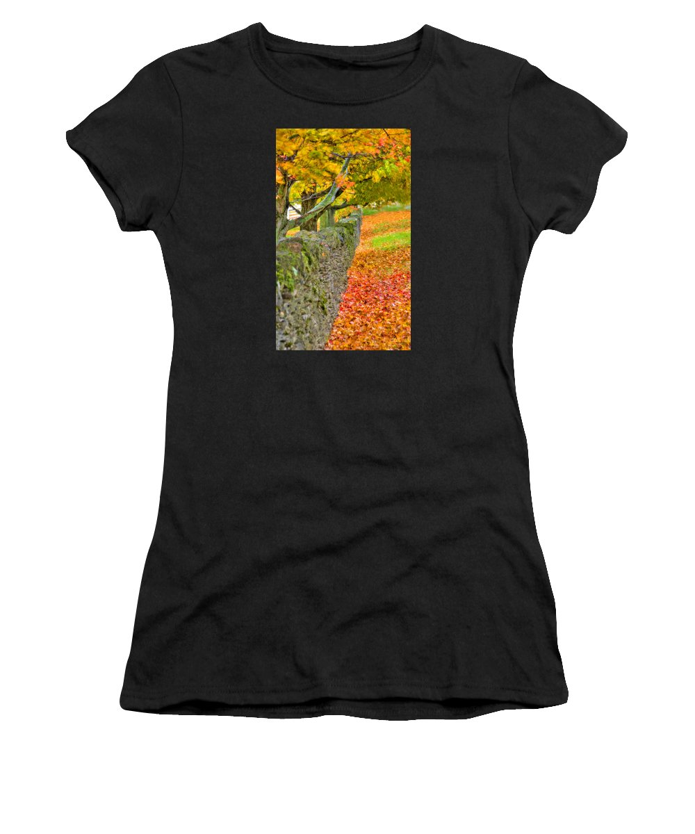 Shaker Women's T-Shirt (Athletic Fit) featuring the photograph Shaker Stone Fence 3 by Sam Davis Johnson