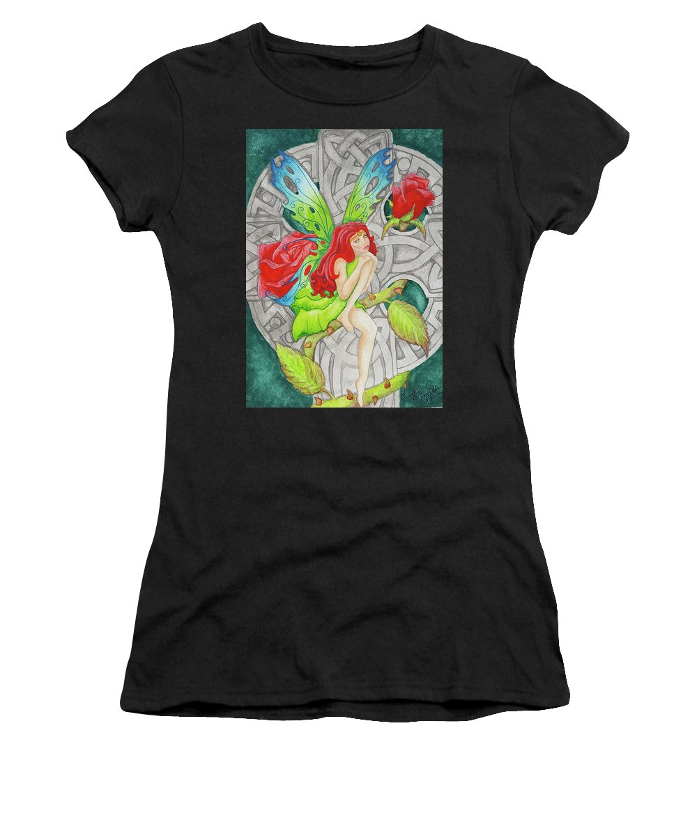 Fairy Women's T-Shirt (Athletic Fit) featuring the painting Shannon's Fairy by Ginger Reynolds