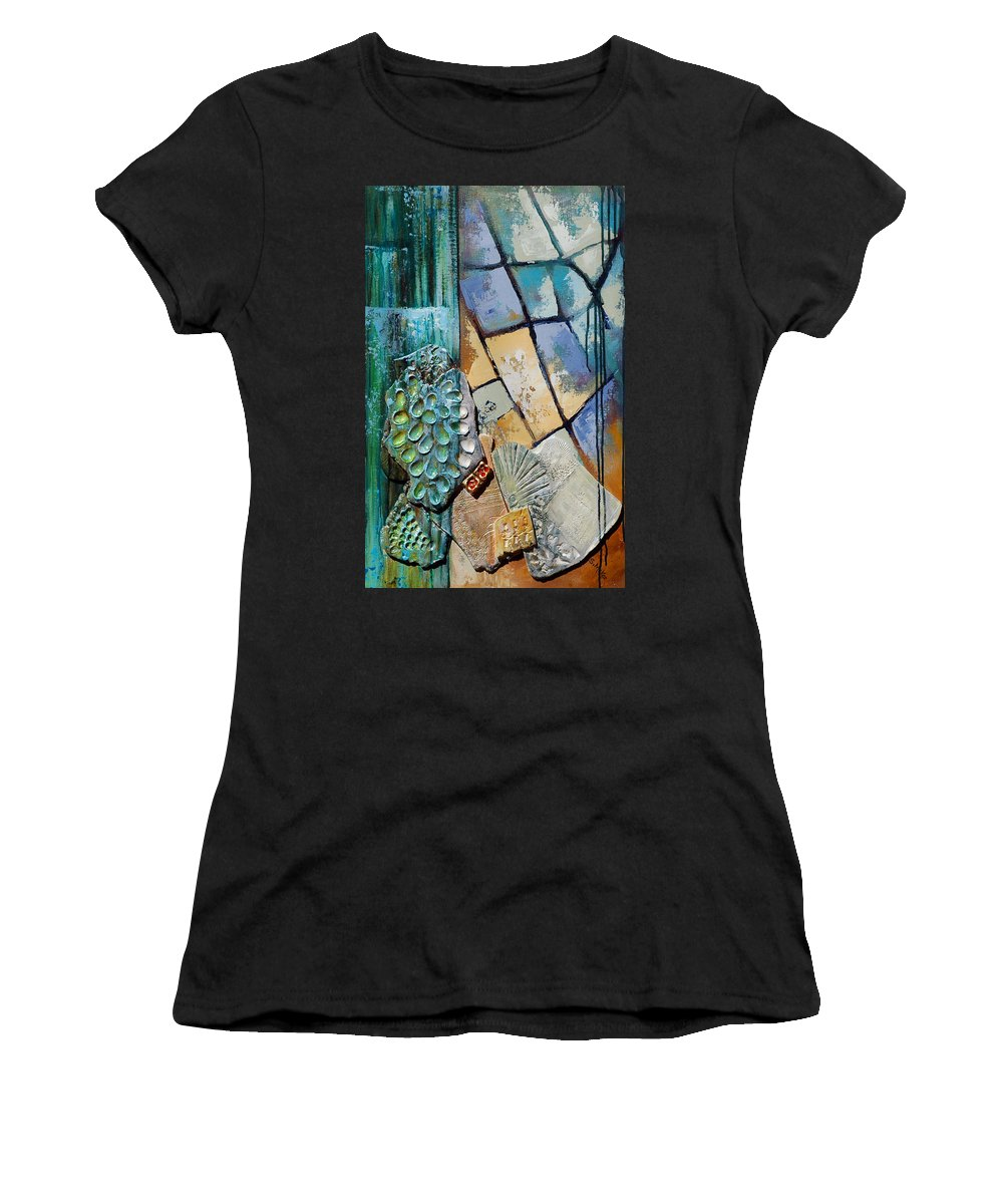 Acrylic Women's T-Shirt (Athletic Fit) featuring the painting Shards Water Clay And Fire by Suzanne McKee