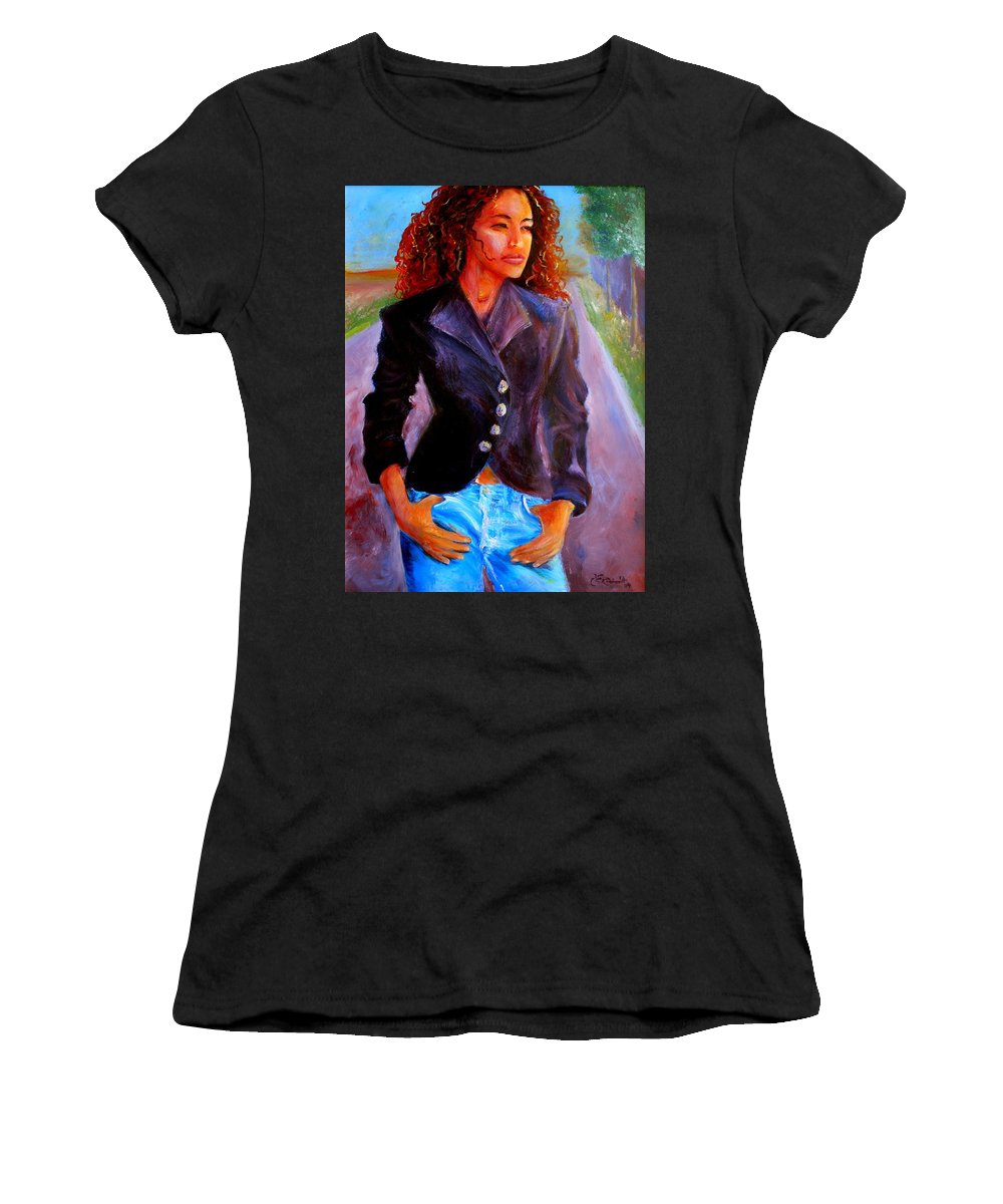 Acrylic Women's T-Shirt (Athletic Fit) featuring the painting Sharice by Jason Reinhardt
