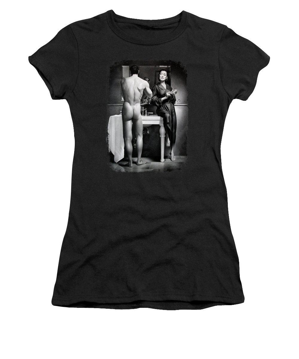 Man Women's T-Shirt featuring the drawing Shaving by Miro Gradinscak