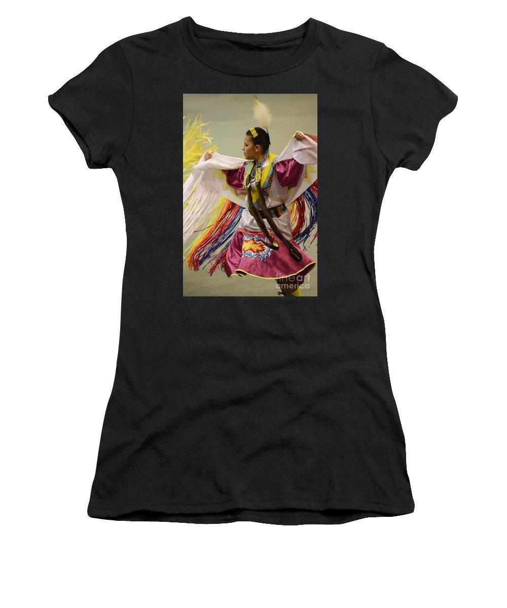 Pow Wow Women's T-Shirt featuring the photograph Pow Wow Shawl Dancer 4 by Bob Christopher