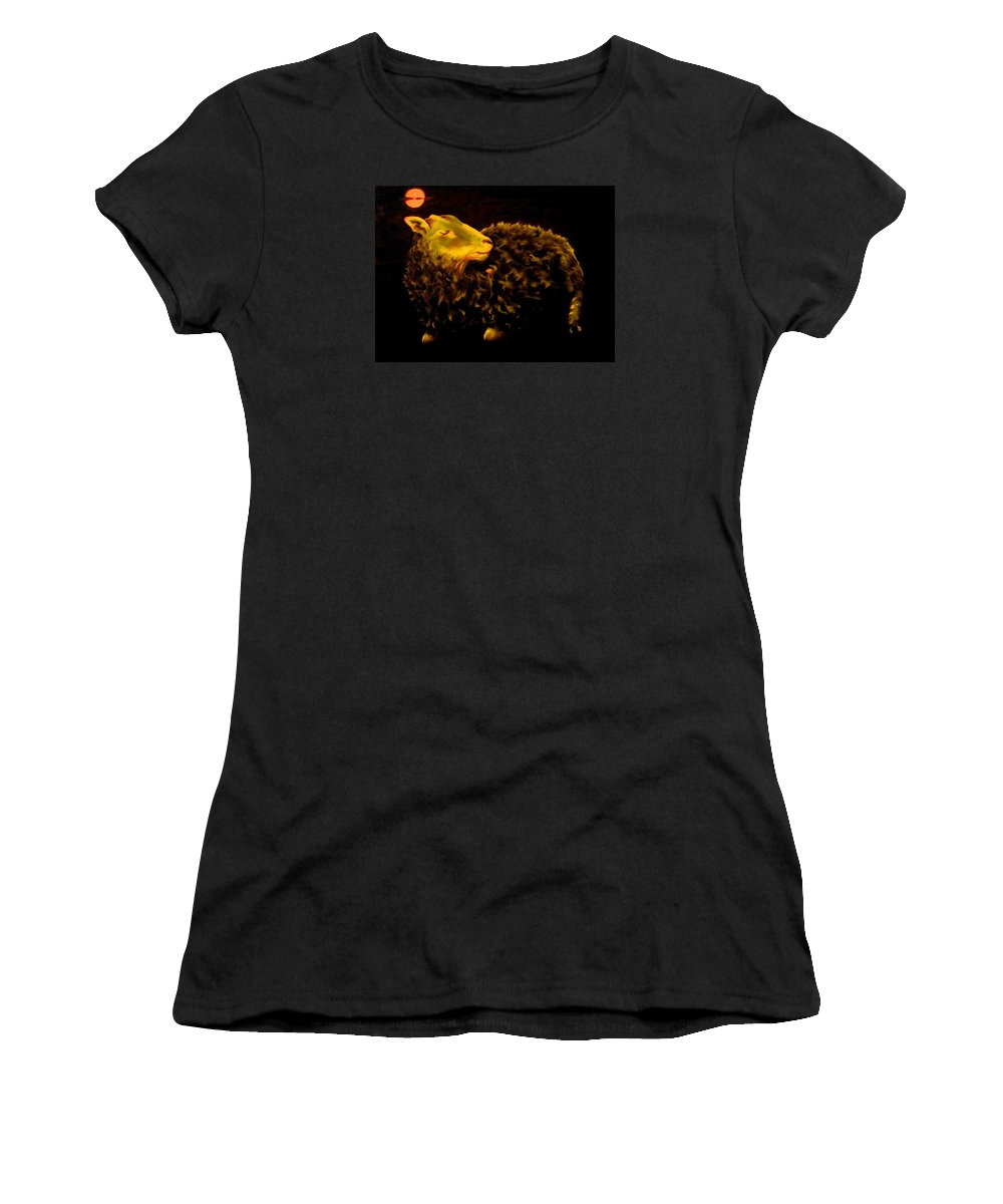 Sheep Women's T-Shirt (Athletic Fit) featuring the painting Sheep At Night by Mark Cawood